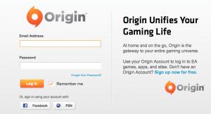 Origin login